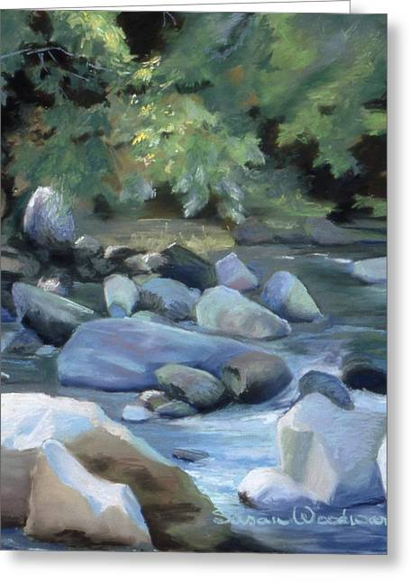 River Scenes Pastels Greeting Cards - Rocky Passage Greeting Card by Susan Woodward