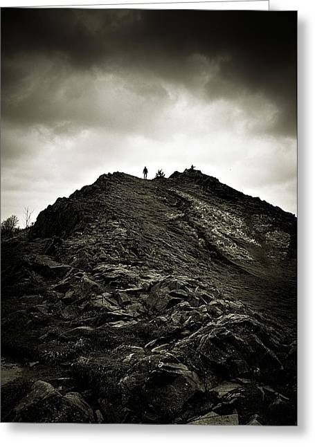 Runnycustard Greeting Cards - Rocky Pathway to Scotland Greeting Card by Lenny Carter