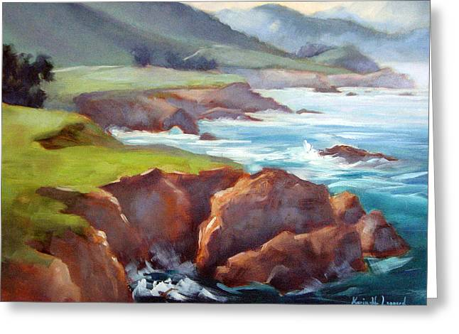 Bixby Bridge Paintings Greeting Cards - Rocky Point Afternoon Big Sur Greeting Card by Karin  Leonard