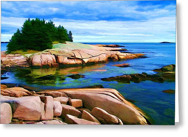 Blue And Green Greeting Cards - Rocky Point at Great Waas - Painterly Greeting Card by Bill Caldwell -        ABeautifulSky Photography