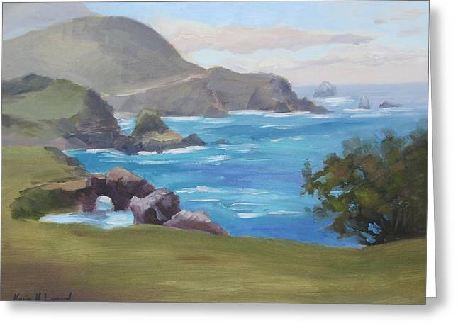 Bixby Bridge Paintings Greeting Cards - Rocky Point Big Sur Greeting Card by Karin  Leonard