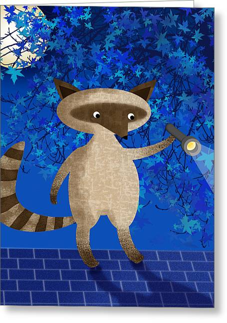 Flash Mixed Media Greeting Cards - Rocky Raccoon  Greeting Card by Valerie   Drake Lesiak