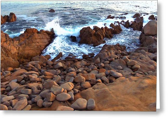 Ocean Art. Beach Decor Greeting Cards - Rocky Shore Greeting Card by Art Block Collections