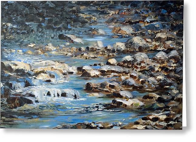Rush-bed Greeting Cards - Rocky Shore Greeting Card by Joanne Smoley