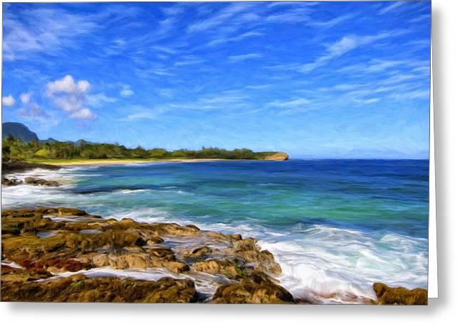 Rocky Shore Near Poipu Greeting Card by Dominic Piperata