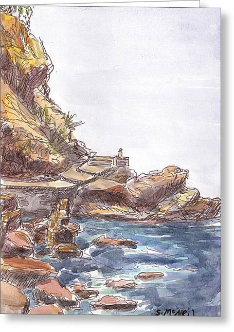 Dodecanese Greeting Cards - Rocky Shore Greeting Card by Sharon McNeil