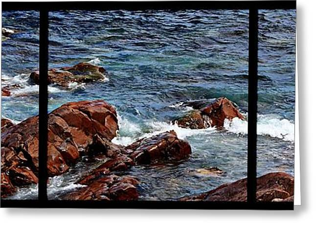 Ocean Images Greeting Cards - Rocky Shore Triptych Greeting Card by Barbara Griffin
