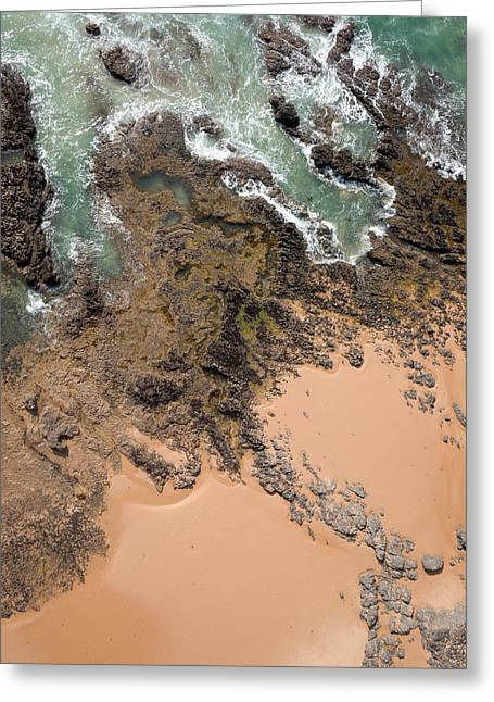 Aerial View Greeting Cards - Rocky Shoreline Abstract Cape Woolamai Greeting Card by Rob Huntley