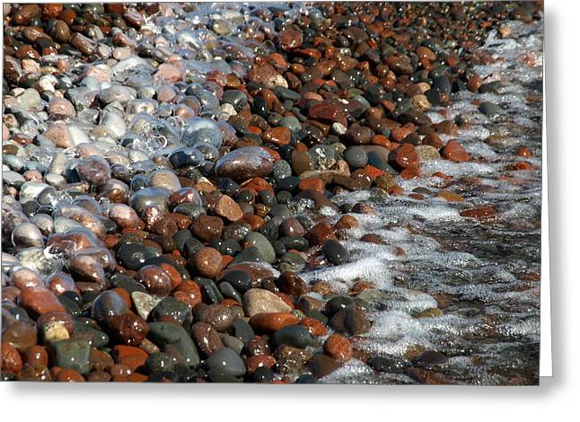 Agate Beach Greeting Cards - Rocky Shoreline Abstract Greeting Card by James Peterson