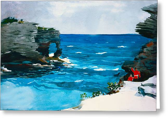 Breezy Greeting Cards - Rocky Shores Bermuda Greeting Card by Winslow Homer