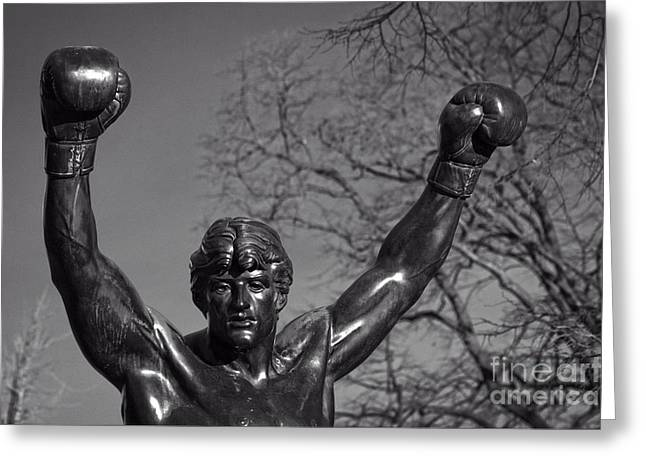 Eakins Oval Greeting Cards - Rocky Statue Greeting Card by Tom Gari Gallery-Three-Photography