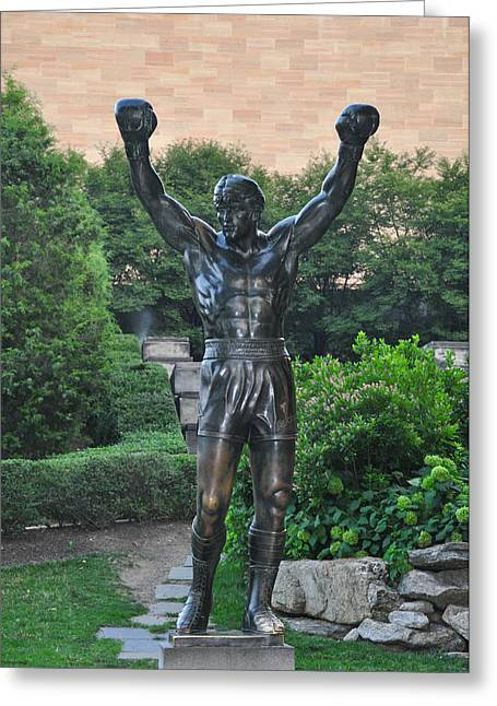 Stallone Digital Art Greeting Cards - Rocky Statue - Philadelphia Greeting Card by Bill Cannon
