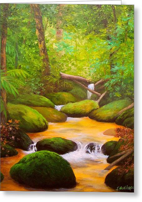 Rocky Stream Greeting Card by Francine Henderson