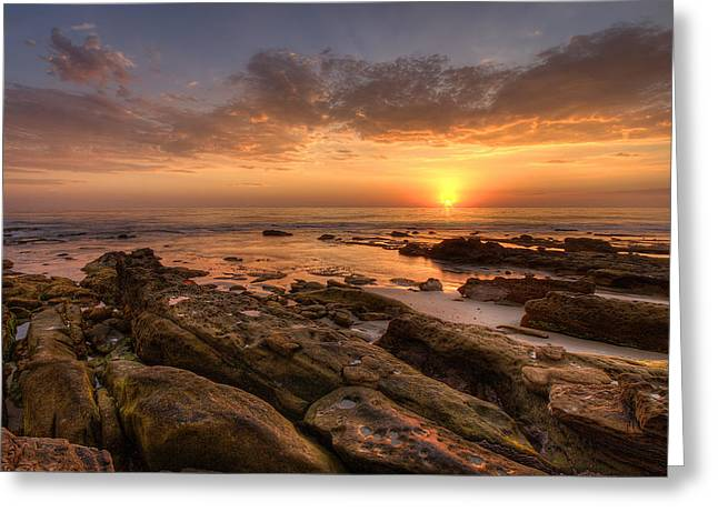 Tide Pools Greeting Cards - Rocky Sunset Greeting Card by Peter Tellone