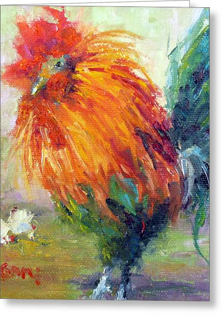 Rocky The Rooster Greeting Card by Marie Green