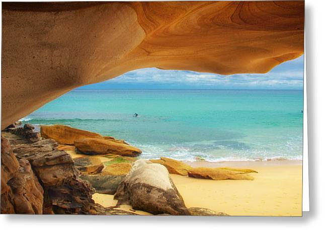 Swimmers Greeting Cards - Rocky View of Tamara Beach Greeting Card by Mountain Dreams
