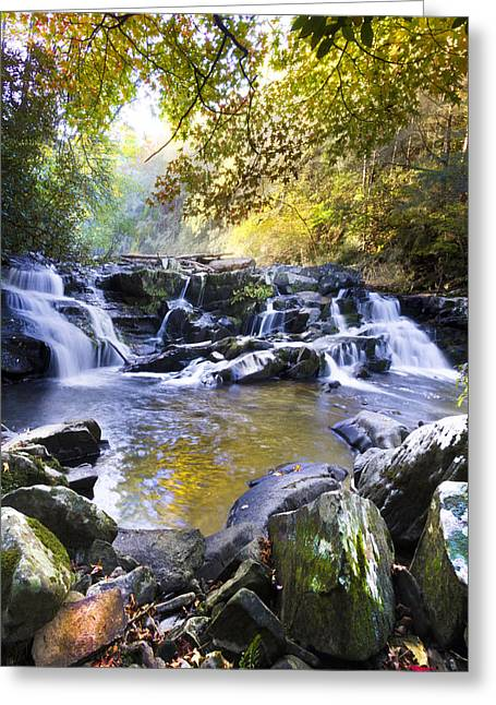 Tennessee River Greeting Cards - Rocky Waterfall Greeting Card by Debra and Dave Vanderlaan