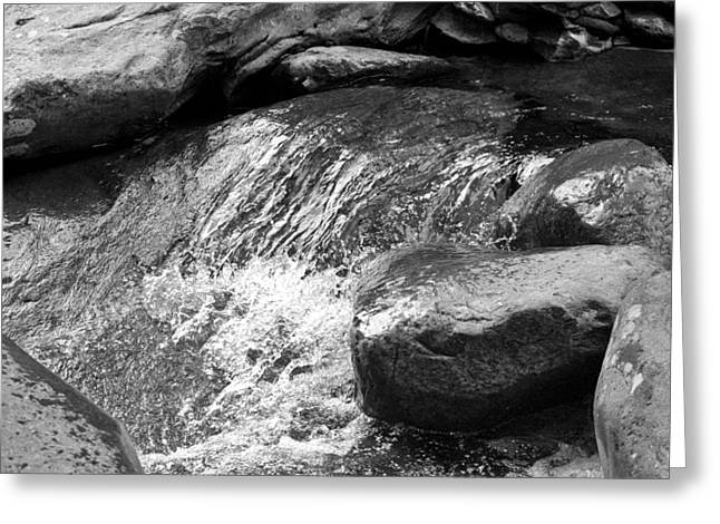 Creekbed Greeting Cards - Rocky Waters BW Greeting Card by Christi Kraft
