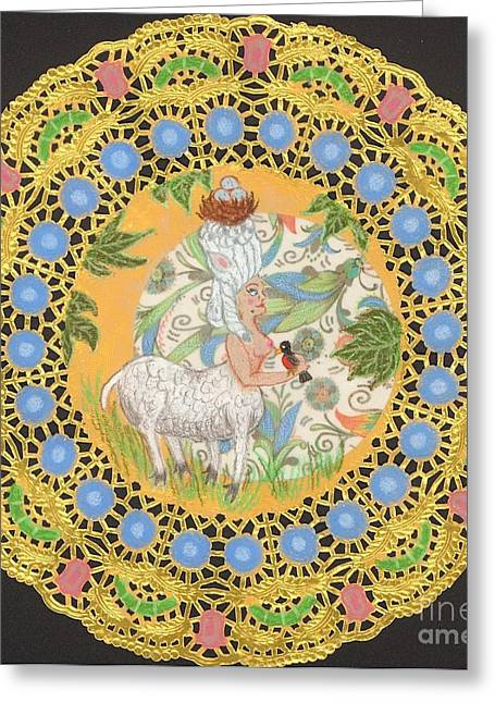 18th Century Mixed Media Greeting Cards - Rococo Sheep Girl Greeting Card by Juliana Brandon