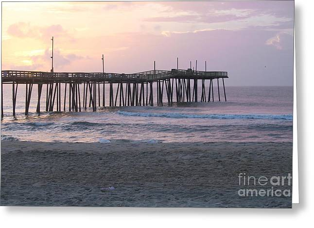 Rodanthe Greeting Cards - Rodanthe Pier Sunrise 2 Greeting Card by Cathy Lindsey