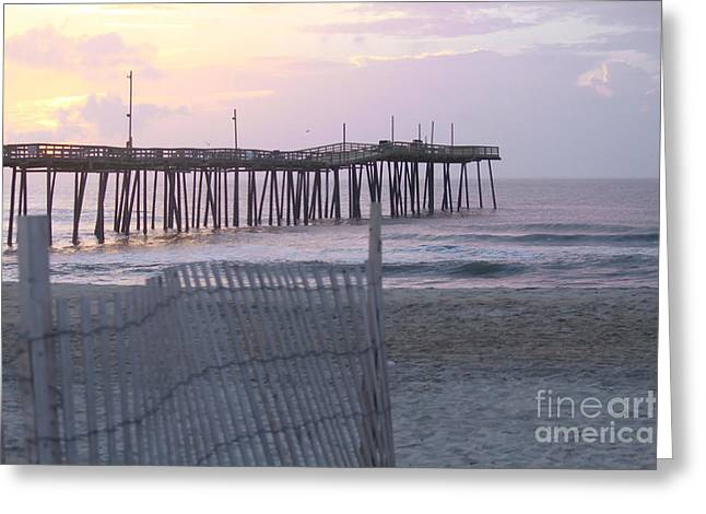 Rodanthe Greeting Cards - Rodanthe Pier Sunrise Greeting Card by Cathy Lindsey