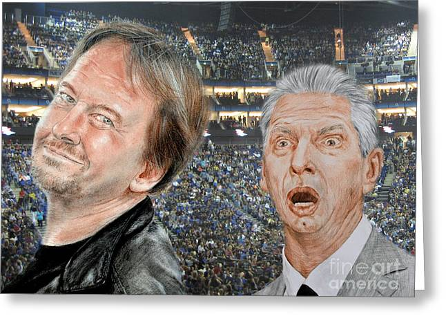 Vince Greeting Cards - Roddy Piper and Vince McMahon  Greeting Card by Jim Fitzpatrick