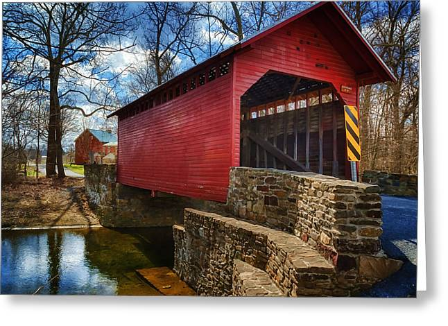 Vintage Greeting Cards - Roddy Road Covered Bridge Greeting Card by Joan Carroll