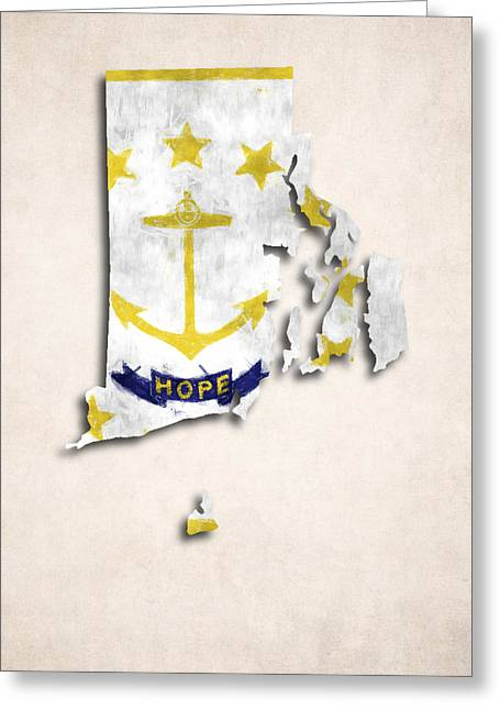 Rhode Island State Map Greeting Cards - Rode Island Map Art with Flag Design Greeting Card by World Art Prints And Designs