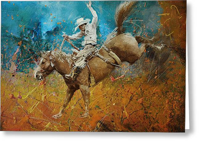 Las Vegas Art Paintings Greeting Cards - Rodeo 001 Greeting Card by Corporate Art Task Force