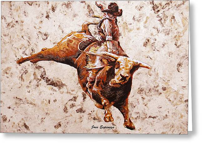 Amate Bark Paper Greeting Cards - Rodeo 1 Greeting Card by Jose Espinoza