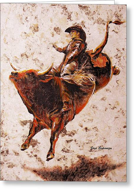 Amate Bark Paper Greeting Cards - Rodeo 2 Greeting Card by Jose Espinoza