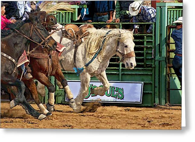Rodeo Action Greeting Card by Priscilla Burgers