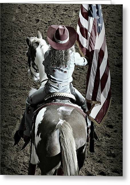 Rodeo Art Greeting Cards - Rodeo America - God Bless America Greeting Card by Stephen Stookey