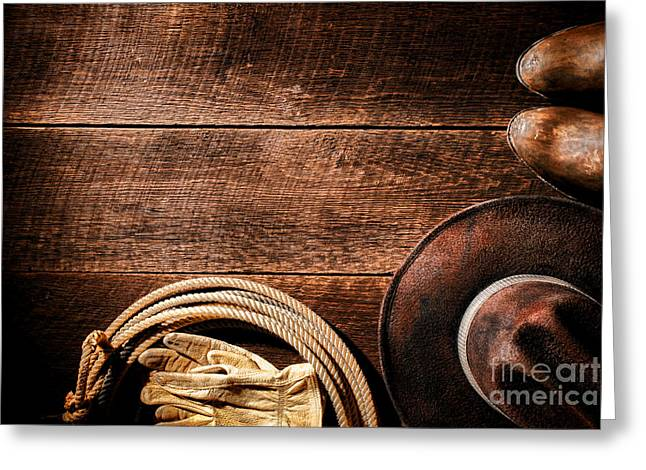 Barn Wood Greeting Cards - Rodeo Background Greeting Card by Olivier Le Queinec