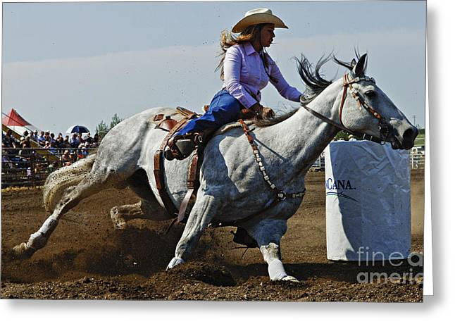 Rodeo Barrel Racer Greeting Card by Bob Christopher