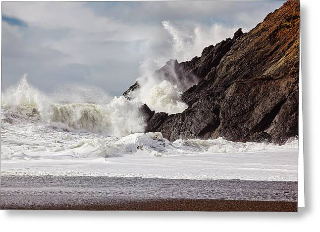 Marin County Greeting Cards - Crash into me - Pacific Ocean uproar Greeting Card by Henry Inhofer