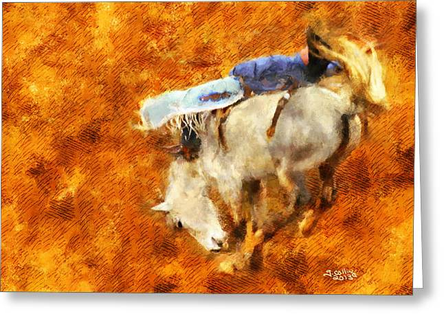 Bronc Greeting Cards - Eight-Second Ride Greeting Card by Greg Collins