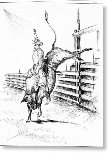 American Cowboy Gallery Greeting Cards - Rodeo Bull Ride - Western Art Drawing Greeting Card by Peter Fine Art Gallery  - Paintings Photos Digital Art