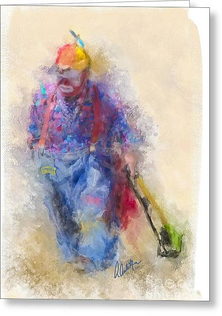 Cowboy Art Collector Greeting Cards - Rodeo Clown Greeting Card by Andrea Auletta