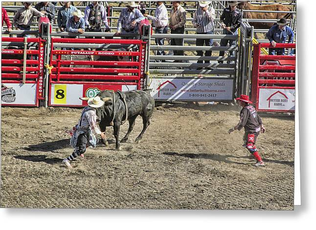 Ron Roberts Photography Greeting Cards Greeting Cards - Rodeo Clowns at work Greeting Card by Ron Roberts