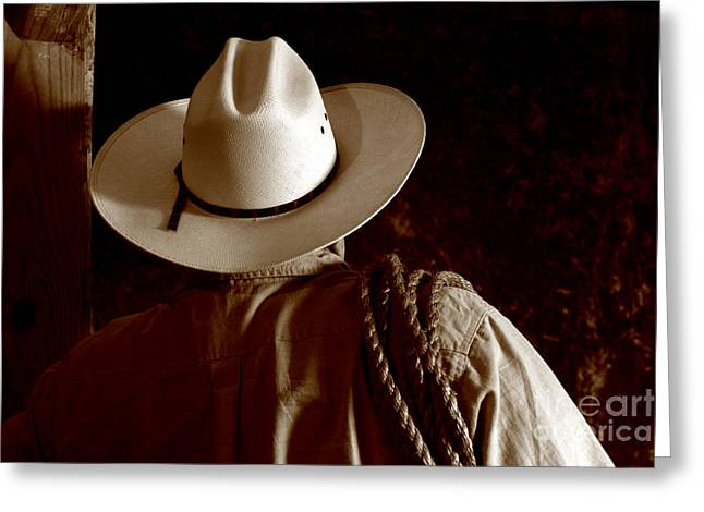 Tough Greeting Cards - Rodeo Cowboy Greeting Card by Olivier Le Queinec
