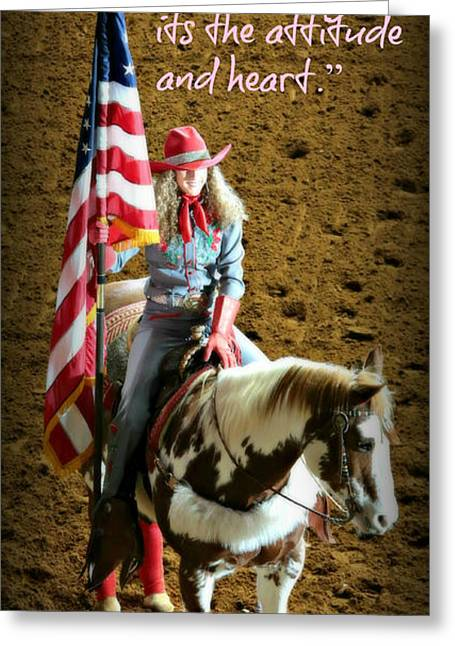 Rodeo Art Greeting Cards - Rodeo Cowgirl Greeting Card by Stephen Stookey