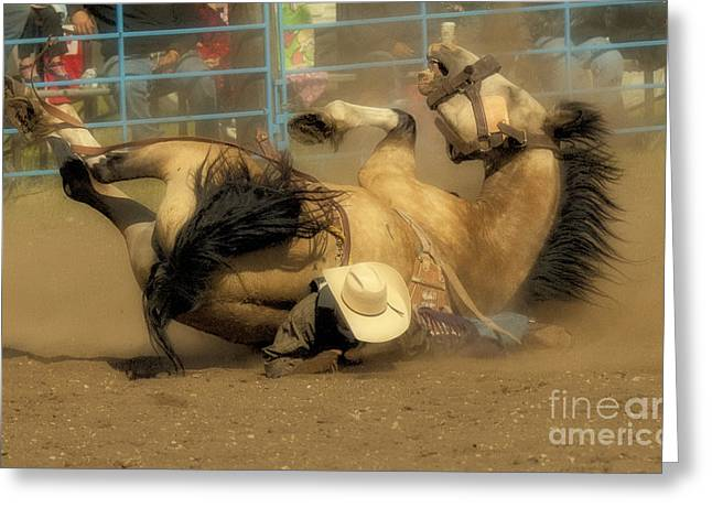 Bronc Greeting Cards - Rodeo Crunch Time 1 Greeting Card by Bob Christopher