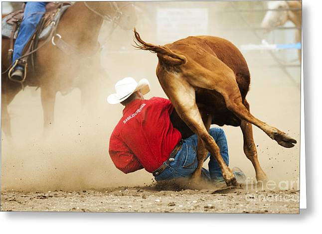 Steer Greeting Cards - Rodeo Getting It Done Greeting Card by Bob Christopher