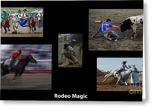 Sports Montage Greeting Cards - Rodeo Magic With Caption Greeting Card by Bob Christopher