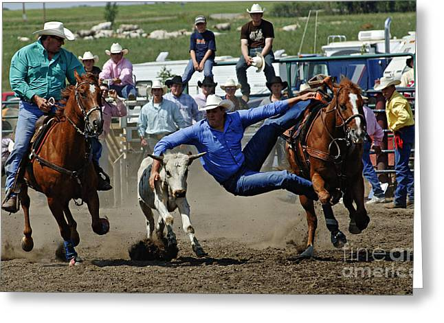 Western Life Greeting Cards - Rodeo Steer Wrestling Greeting Card by Bob Christopher