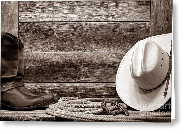 Black Boots Greeting Cards - Rodeo Still Life Greeting Card by American West Legend By Olivier Le Queinec