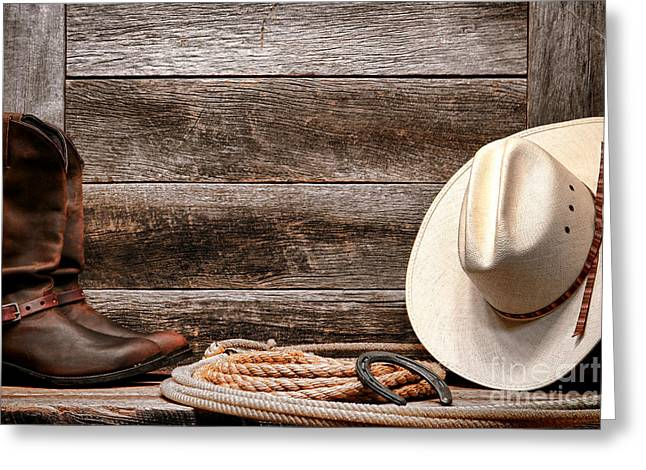 Cowboy Hats Greeting Cards - Rodeo Still Life Greeting Card by Olivier Le Queinec