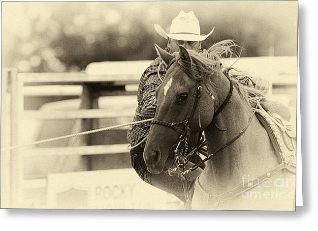 Canadian Sports Art Greeting Cards - Rodeo The Cowboy Way Greeting Card by Bob Christopher