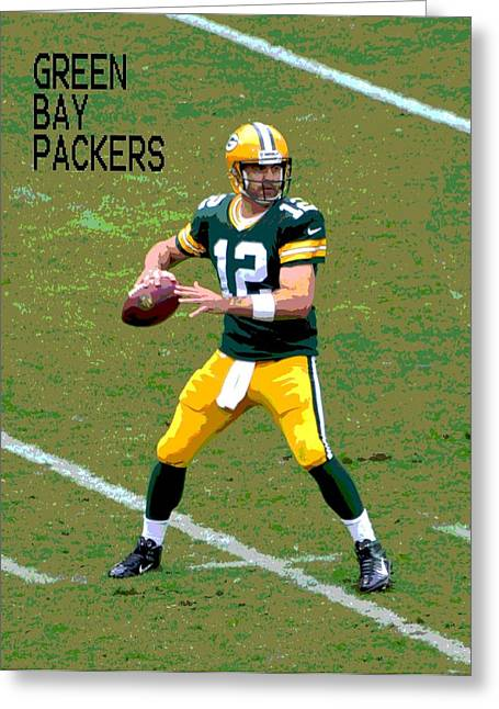 Pro Football Paintings Greeting Cards - Aaron Rodgers Greeting Card by Deena Stoddard